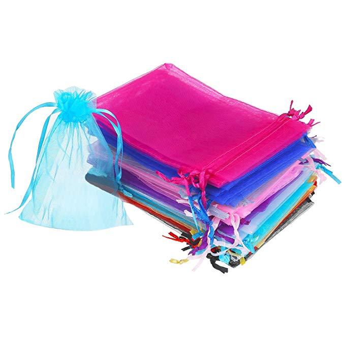 Mudder 50 cái 4x68.6 cm organza quà tặng túi dây kéo túi đồ trang sức wedding party gift bag