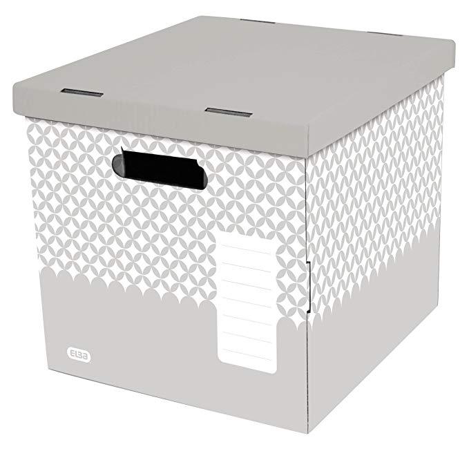 Elba 400070170 ordnungs - Hộp trang trí 2 miếng cao - xám với nắp có thể tháo rời giấy - lưu trữ màu