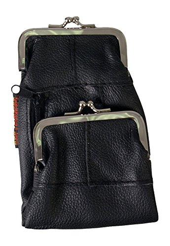 Túi  đựng thuốc lá Bằng da , Màu đen ngăn đôi.