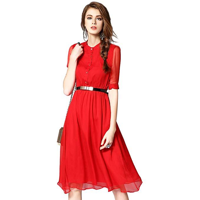 PINGORA dress 2018 mùa hè ladies new Châu Âu và Mỹ phong cách thời trang màu rắn đơn giản thanh lịch
