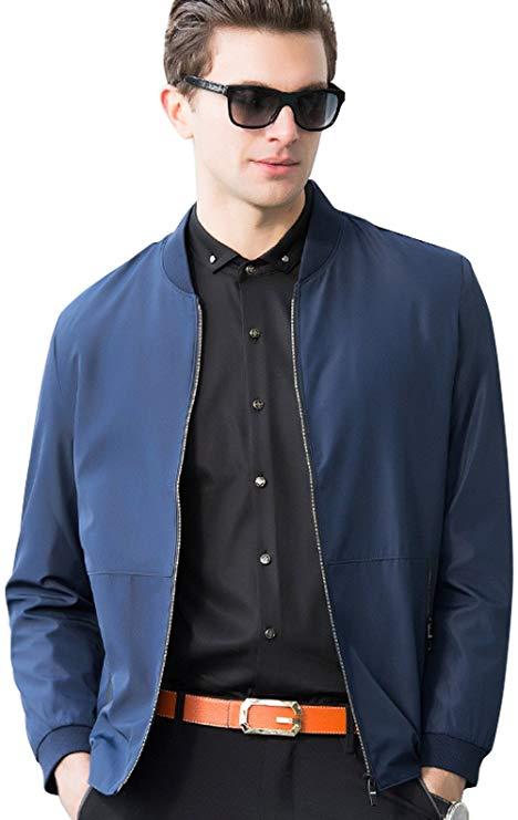 BOKOLO Berkron nam áo khoác ngắn mùa xuân và mùa thu màu rắn áo giản dị của Nam Giới xanh trung niên