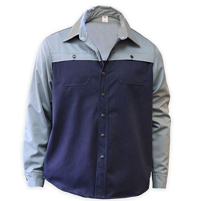 Quần áo bảo hộ Chicago 625-MW-GN-S FR Màu xám và * Áo sơ mi màu xanh hàn, nhỏ, xám / * Xanh lam