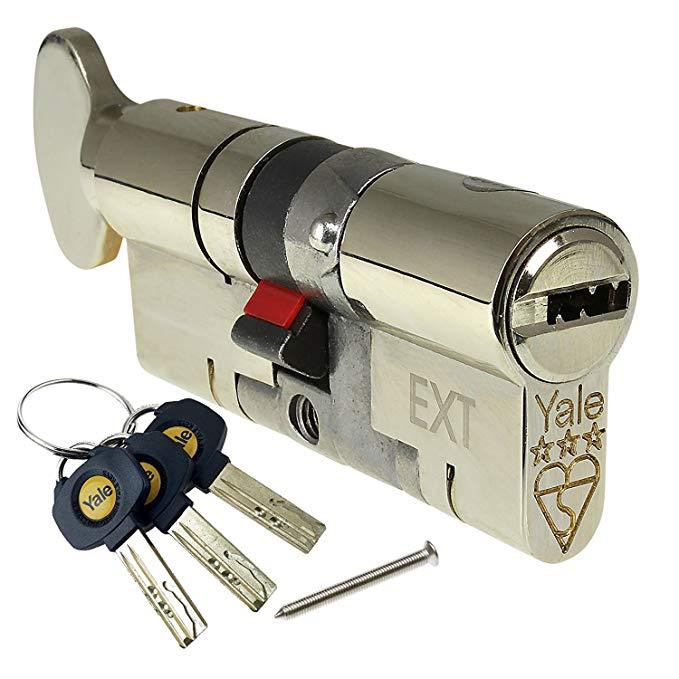 40/40 (70mm) Nickel Yale Platinum 3 sao Thumb Xoay Euro Cylinder Không có phím bổ sung (3 tổng) YS3-