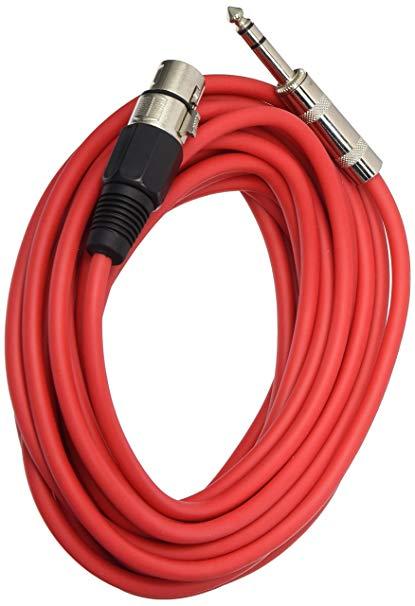 Seismic Audio SATRXL-F25 3.66 m XLR nữ đến 0.64 cm TRS patch cable balance - đỏ, 6 gói