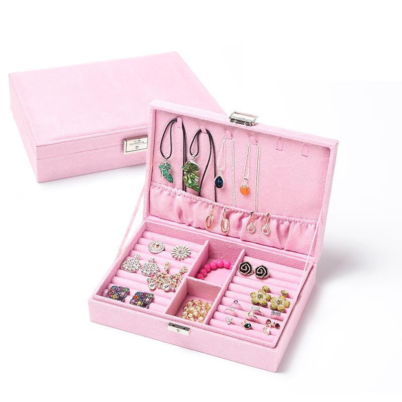 Hộp trang sức Cái hộp gỗ gia dụng công suất lớn các đồ trang trí hộp trang sức lấy chiếc nhẫn khuyên