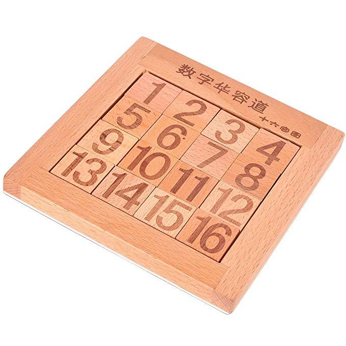 Huarong Road Elm đồ chơi giáo dục bằng gỗ thông minh trò chơi kỹ thuật số đĩa 16 Cung điện hình xiên