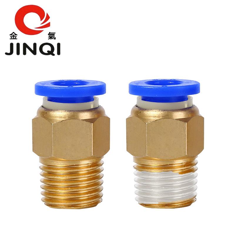 Jinqi Linh kiện khí nén PC8-02 ren ngoài 6-01 xuyên suốt 10-03 chèn nhanh khớp nối ống khí 4-M5 12-0