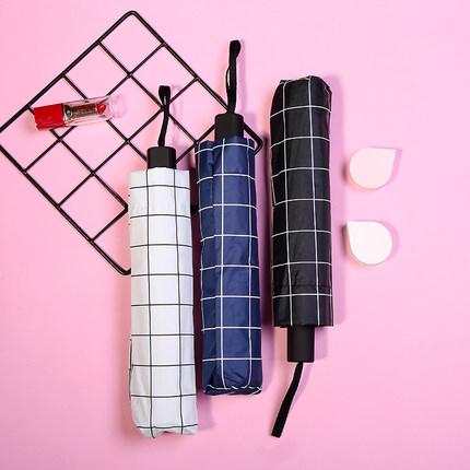 Umbrella Umbrella Umbrella Không ướt Dual-sử dụng kem chống nắng UV kháng keo sọc ca rô sọc đơn giản
