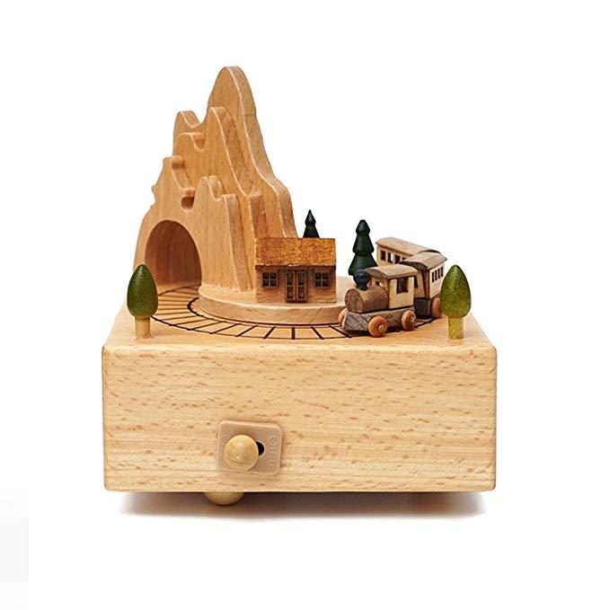 Hộp nhạc gỗ để bàn hình tàu lửa qua núi MEIPAJIA