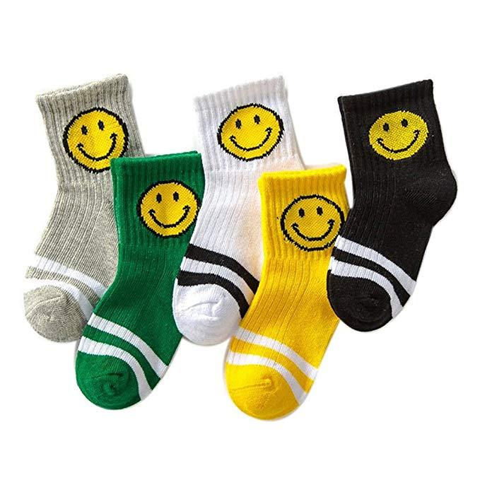 Tốt dễ chịu smiley cotton trẻ em vớ 5 cặp lắp ráp trong các chàng trai ống và cô gái mùa thu và mùa