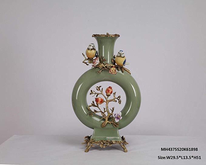 MSK Đồ trang trí bằng gốm sứ Home Pavilion, đồ trang trí trang trí chai bằng gốm mặt trăng bằng đồng