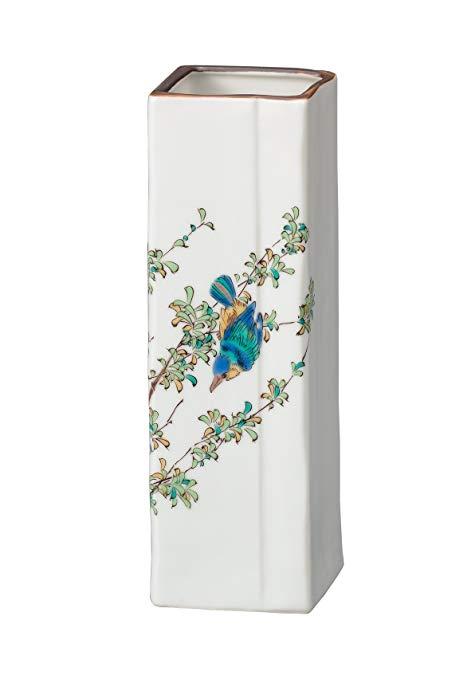 Bình hoa vuông trắng hình chim và hoa MARUSUN