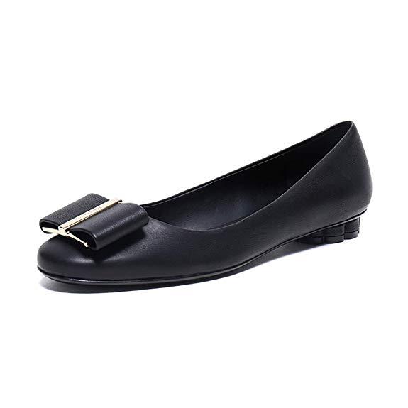 Giày búp bê da mềm dành cho Nữ , Thương hiệu : Salvatore Ferragamo - 0680020 US .