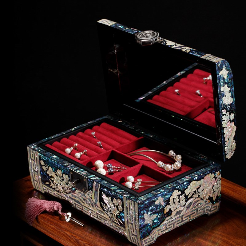 Hộp trang sức Princess Jewelry Box European Wooden Mole Lacquerware Locked Jewelry Box Luxury Handma
