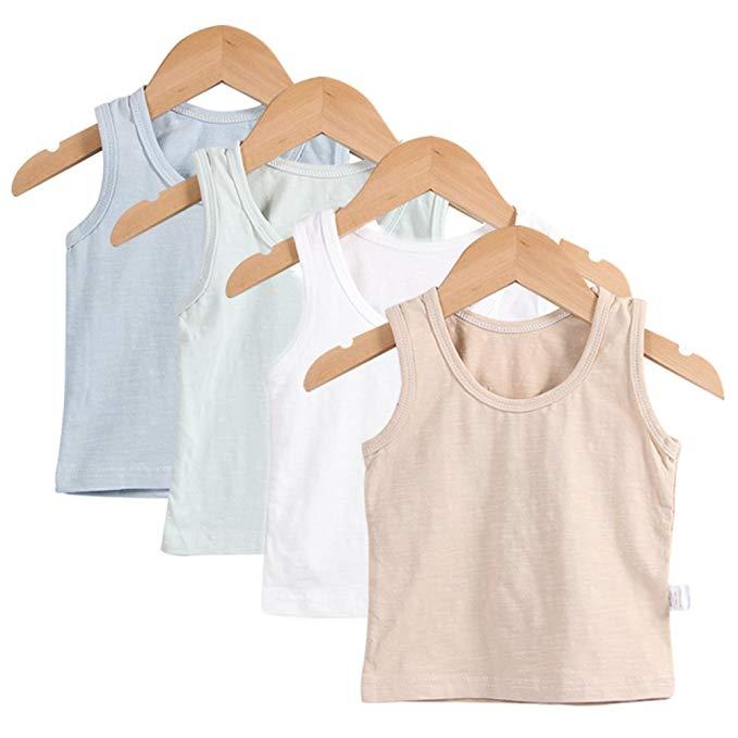 Guozyun baby boy vest không tay T-shirt đồ lót dây cho 6-36 tháng trẻ sơ sinh (4 gói)