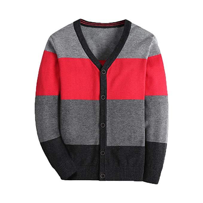 Basadina Boys Sweater Cardigan sọc V-cổ - Áo len Cardigan Boy Sweater Cardigan nhiều màu sọc