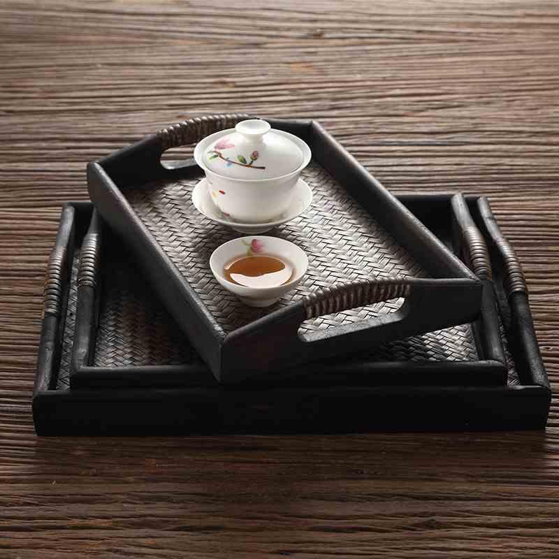 Mâm nhựa / Pallet nhựa 2018 mới hàng mây tre khay trà chậu cảnh khay oblong tách trà khay phục cổ đẹ