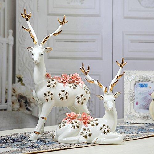Jingyuan Đồ trang trí bằng gốm sứ gốm đan tay đôi hươu trang trí hươu trang trí nhà cao cấp quà tặng