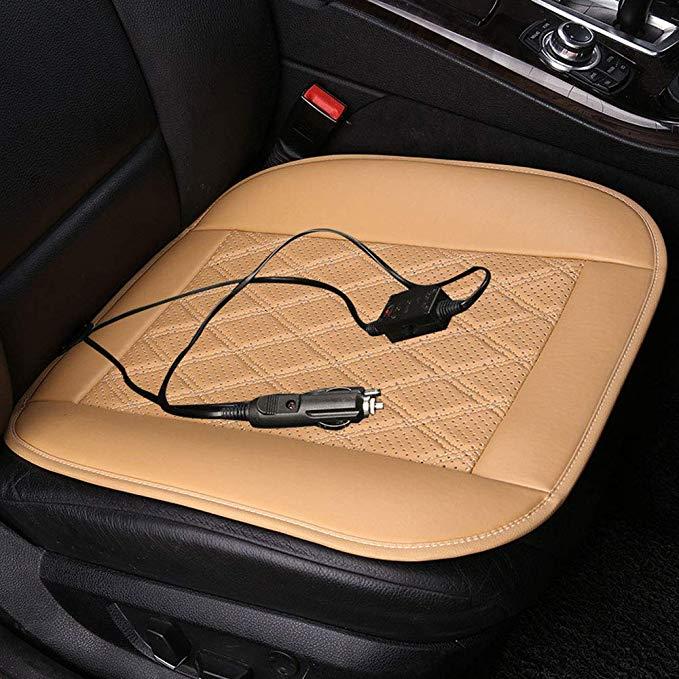 Đệm ngồi giữ ấm bằng da dành cho ghế đơn xe hơi .