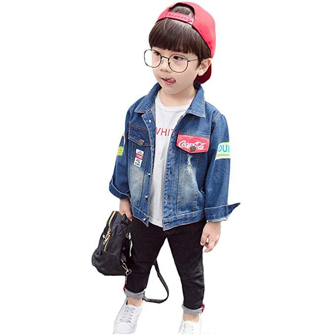 VEGORRS mùa thu quần áo trẻ em trẻ em Hàn Quốc cola denim jacket trẻ em nhỏ của xu hướng thời trang