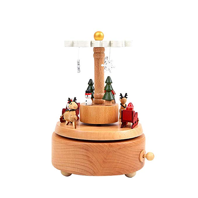 MEIPAJIA Đồ trang trí bằng gỗ Giáng sinh bằng gỗ hộp nhạc trang trí hộp nhạc Giáng sinh sáng tạo quà