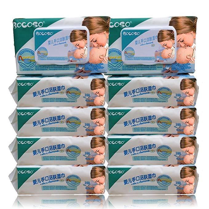 BOCOSO Khăn ướt Khăn lau trẻ sơ sinh BOCOSO with có nắp 5 gói / 10 gói (100 bơm / gói) trẻ em dùng t
