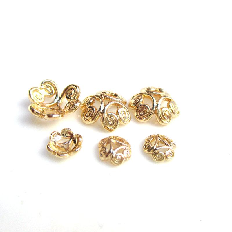 Vật liệu kim loại Phụ kiện tự làm hình xuyến bán buôn | túi đồng nguyên chất 24K vàng rỗng hình bông