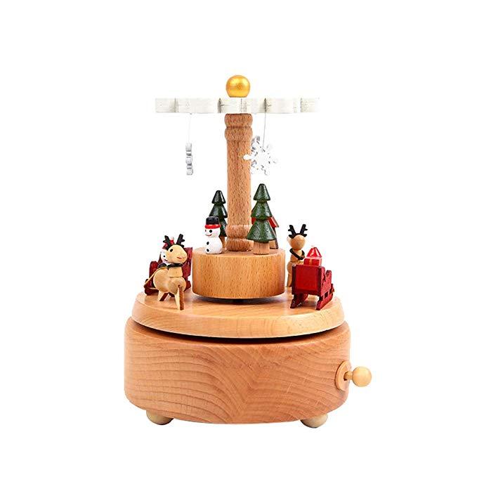 Giáng sinh bằng gỗ hộp nhạc trang trí hộp nhạc Giáng sinh sáng tạo quà tặng hộp quà tặng ngày lễ Gửi