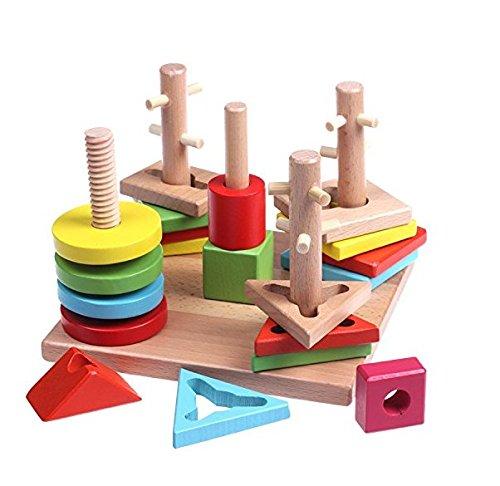 Trẻ em bằng gỗ câu đố kỹ thuật số đồ chơi nhà 13 lỗ thông minh hộp 36 tháng và ở trên bé khối xây dự