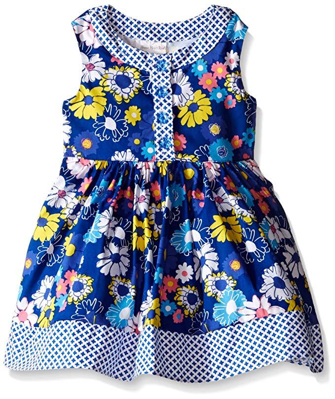 Trái tim ngọt ngào tăng cô gái hoa Poplin ăn mặc với màu xanh và trắng in