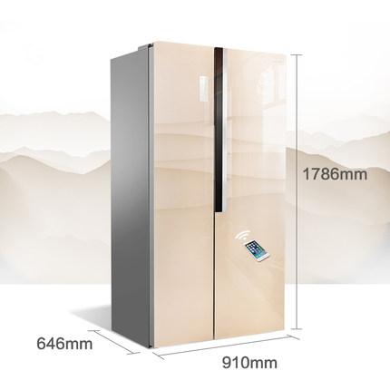 Ronshen Tủ lạnh  Ronshen / Rongsheng BCD-496WD12HPCA Cửa tủ lạnh pha lê màu ấn tượng mở cửa đôi chuy