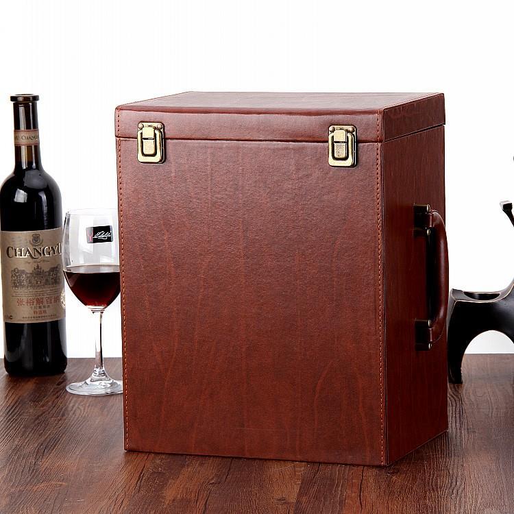 Hộp da Chỗ rượu vang đỏ da hộp hộp hộp chứa rượu vang sáu đội 6 chỉ va li 6 chỉ lắp thùng rượu.