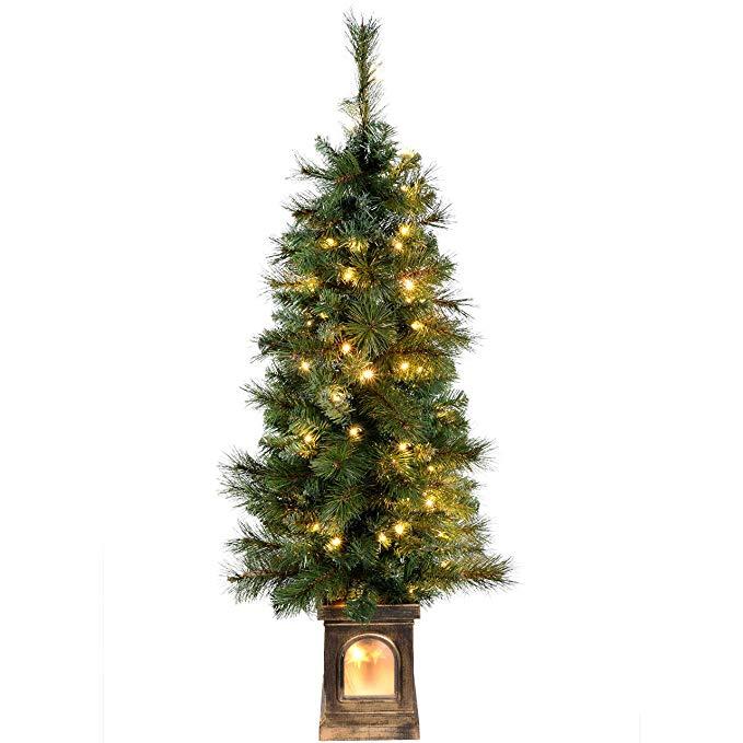 cây thông chiếu sáng với 80 đèn LED trắng ấm, 4 ft / 1,2 m - xanh .