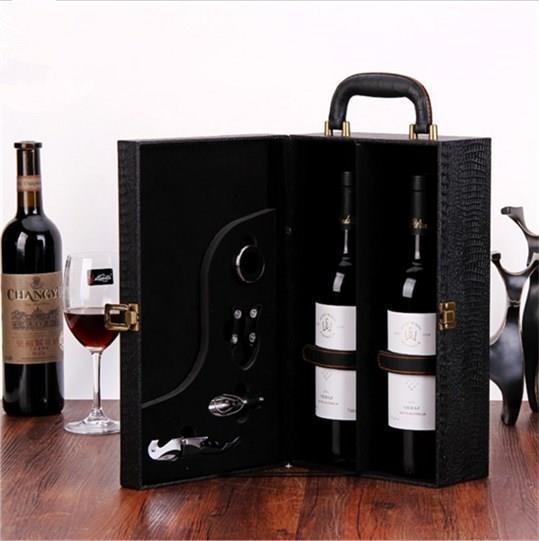 Hộp da Rượu vang đỏ túi hộp hộp được hai khẩu 2 chỉ lắp hộp quà vỏ hộp rượu.