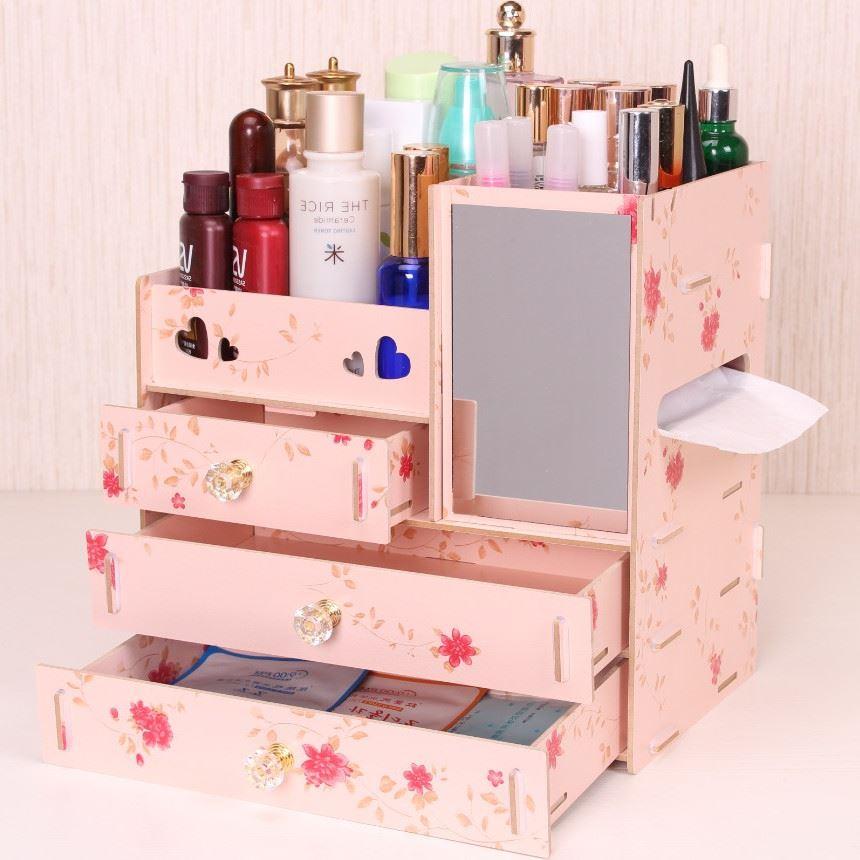 Hộp gỗ  Màn hình hộp tủ đầu giường lấy gỗ lấy hộp mỹ phẩm đồ dùng gia đình lớn đáng yêu công chúa ti