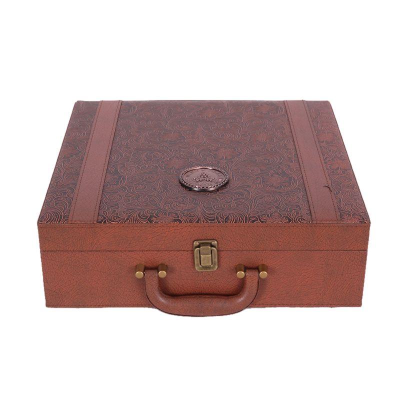 Hộp da Rượu vang hộp hộp hộp bốn khẩu đặt đơn hàng da vỏ đạn 4 chỉ va li