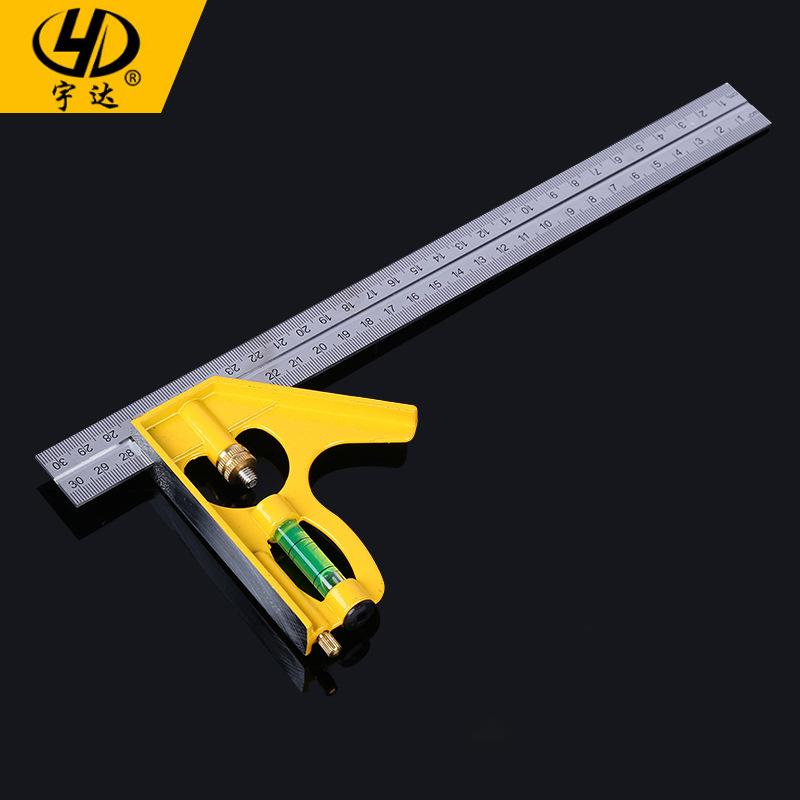 YUDA Dụng cụ đo lường Thước đo góc bằng thép không gỉ công cụ đo dân dụng vuông chính xác cao 300MM