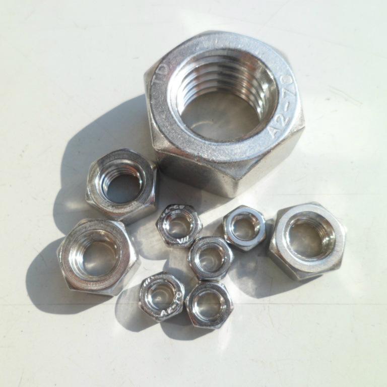 FL Tán Nhà máy trực tiếp 201 304 thép không gỉ hex hex nut tốt răng mỏng M3M8 * 1-M64