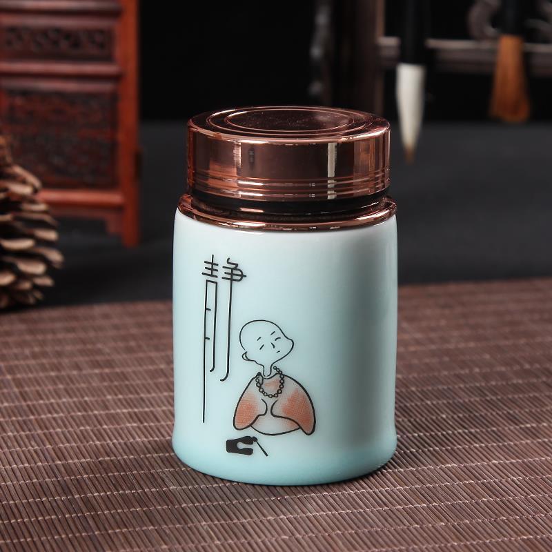 Hũ kim loại đồ trà Trà Bình khóa mini xách tay kèn hộp thiếc kim loại gốm sứ men Xanh Suối Trà Bình