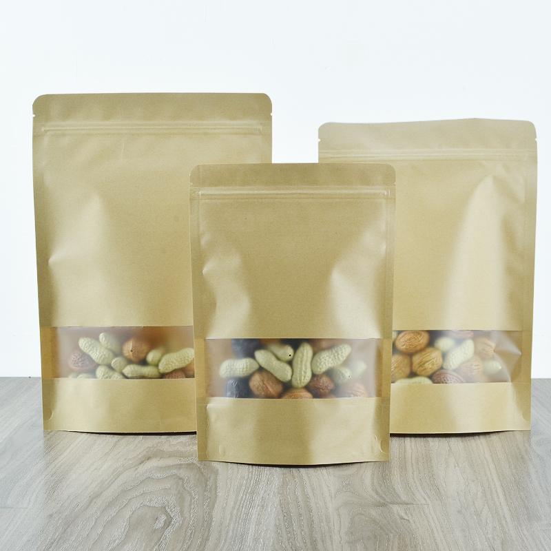 Kraft cửa sổ tự lập bao gói thực phẩm túi trà hạt dưa hạt ăn được niêm phong tự phong bao gói bưu