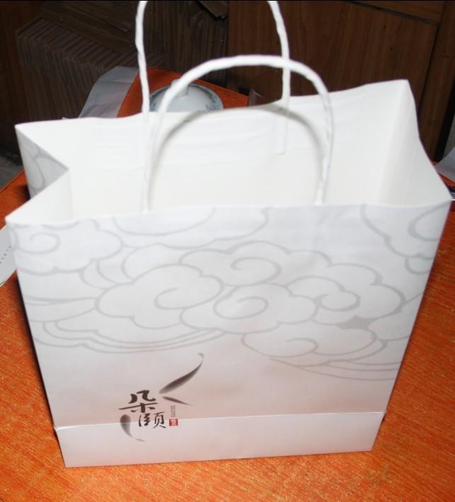 Túi giấy Khách sạn đóng gói túi đồ làm tay trong túi da trắng in thếp vàng túi quà rượu túi trà túi