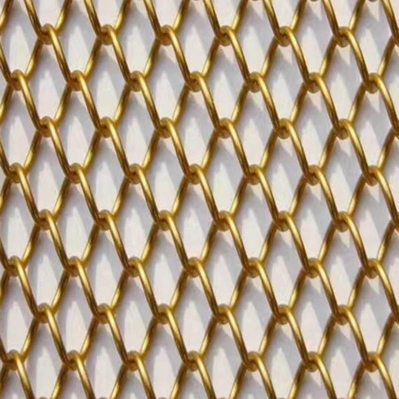 JUHOU Lưới kim loại Dệt kim cương đồng bằng đục lỗ tường ngoài trang trí rèm lưới khách sạn rèm tườn