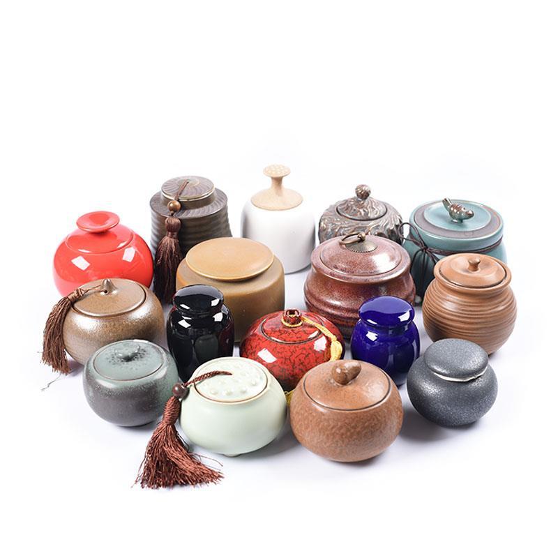 Hũ kim loại Chơi trà bình gốm sứ kim loại 3 Trang tử sa tăng kích thích niêm phong số ngẫu nhiên kíc