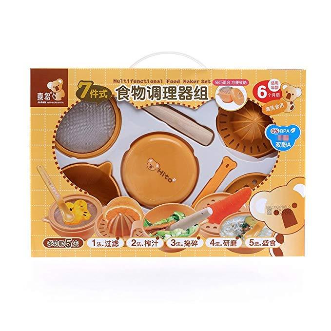 Hito Xiduo cung cấp cho bà mẹ và trẻ em mát hơn gấu điều hòa thực phẩm bảy miếng Máy xay thực phẩm b