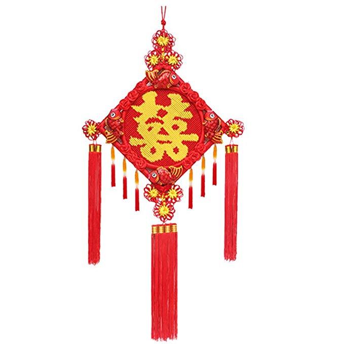 KUNFANG Trang trí lễ cưới Blessing hi từ thêu cá Trung Quốc mặt dây chuyền nút thắt Phòng khách hiên