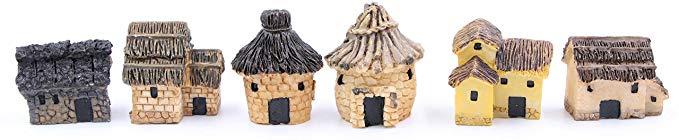 LeBeila Cảnh quan Mini Miniature Fairy Garden Stone House Mini Cabin Phụ kiện trang trí Cabin nhỏ, 6