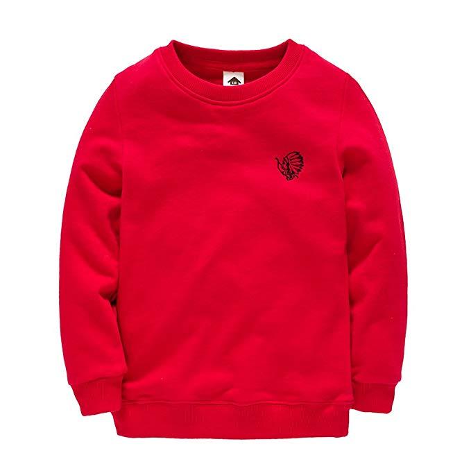 Áo len cậu bé mùa xuân và mùa thu bông dài- tay mùa xuân thể thao màu rắn lớn trẻ em áo len quần áo