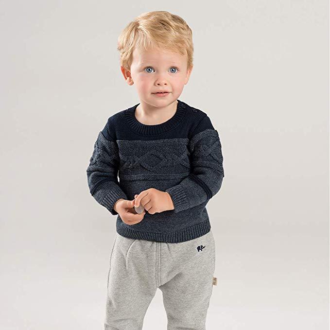 Davebella david Bella mùa đông cậu bé mới áo len bé ấm áo thun áo len DB8667