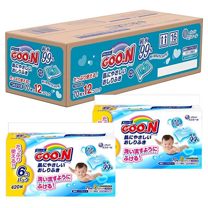 GOO.N Khăn ướt Dawang Nhẹ nhàng lau giấy vệ sinh Thay thế 840 miếng (70 miếng × 12 miếng)