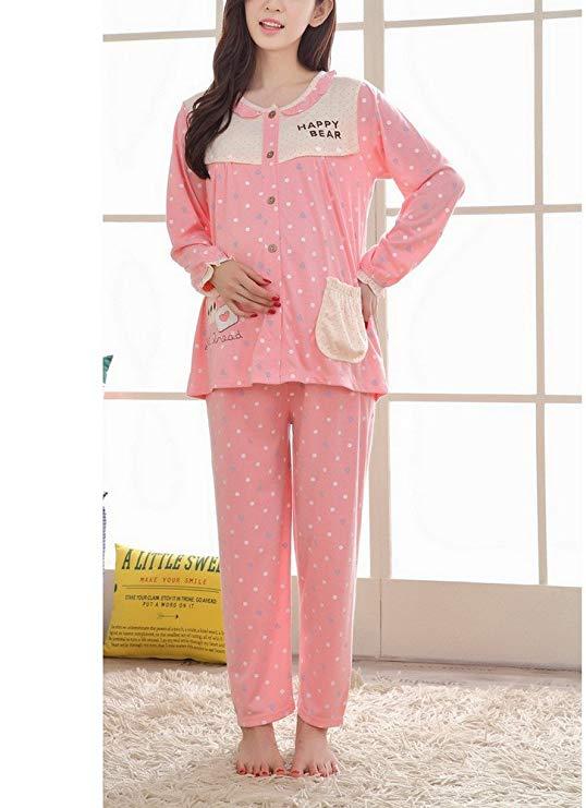 DZCZM Trang phục trong tháng (sau sinh) Bà bầu mặc bà bầu thời trang hoạt hình cho con bú đồ ngủ phù